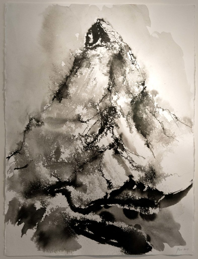Matterhorn, Drawing, Chinese ink on paper, bamboo brush, walnut stain, 4'000.- CHF