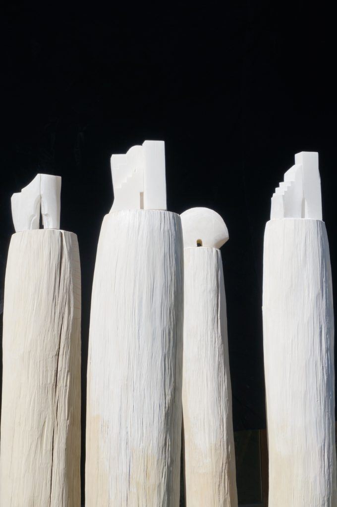 Sculpture, Alabaster & Maple Wood, c. 240cm / 25cm diam., 60kg, 10'000.- CHF each.