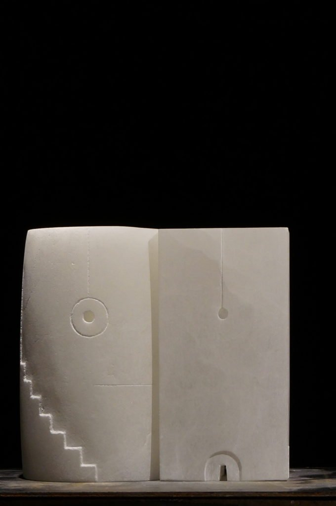 Sculpture, Alabaster & Maple Wood, c. 20cm/12cm/10cm, Price on request.