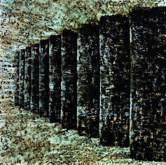 Le souffle du Naos, Mixed technique on linen, 242x242cm, 2006