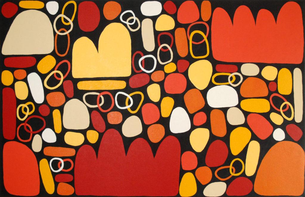 Keturah Zimran ( 1978 - ), Puli Puli - Rocks, Acrylic on canvas, 122x198cm, 2017, Price on request.