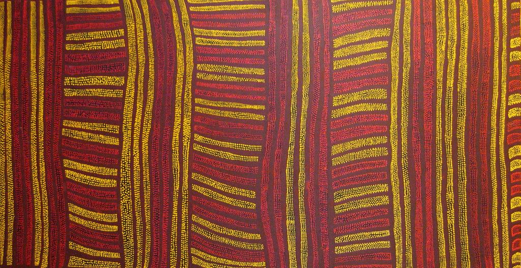 Gloria Tamerre PETYARRE ( 1938 - ), Le rêve du lézard sauvage, Acrylic on canvas, 234x124cm, 1994, Price on request.