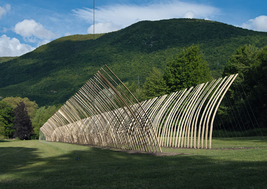 Scansions, Spruce, 566 wood planks, Section 12x2cm, 100x14x6cm, 2013, Isère, FR