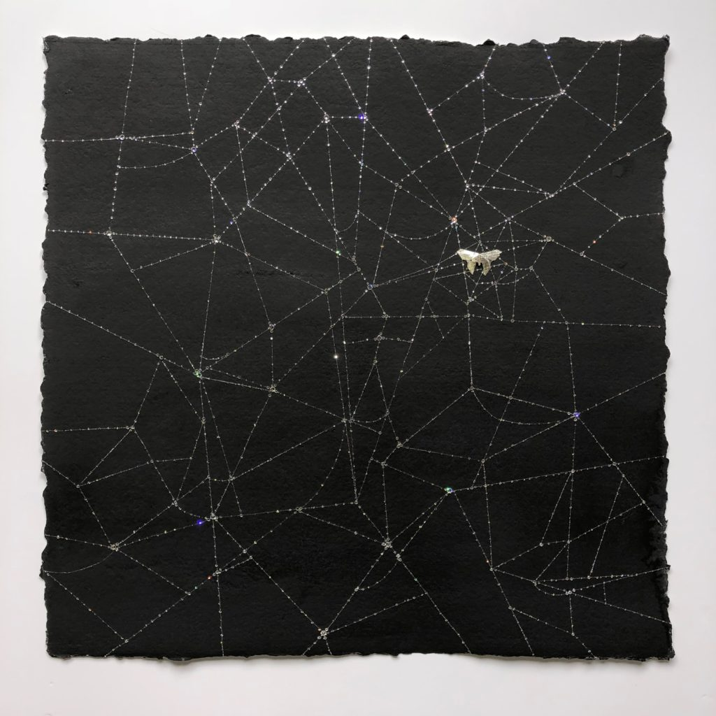 Caught in Network, Cotton paper, ink, Swarovski ™ Crystals, Mulberry Paper, Sterling silver leaf, 80x80cm, Price on request.