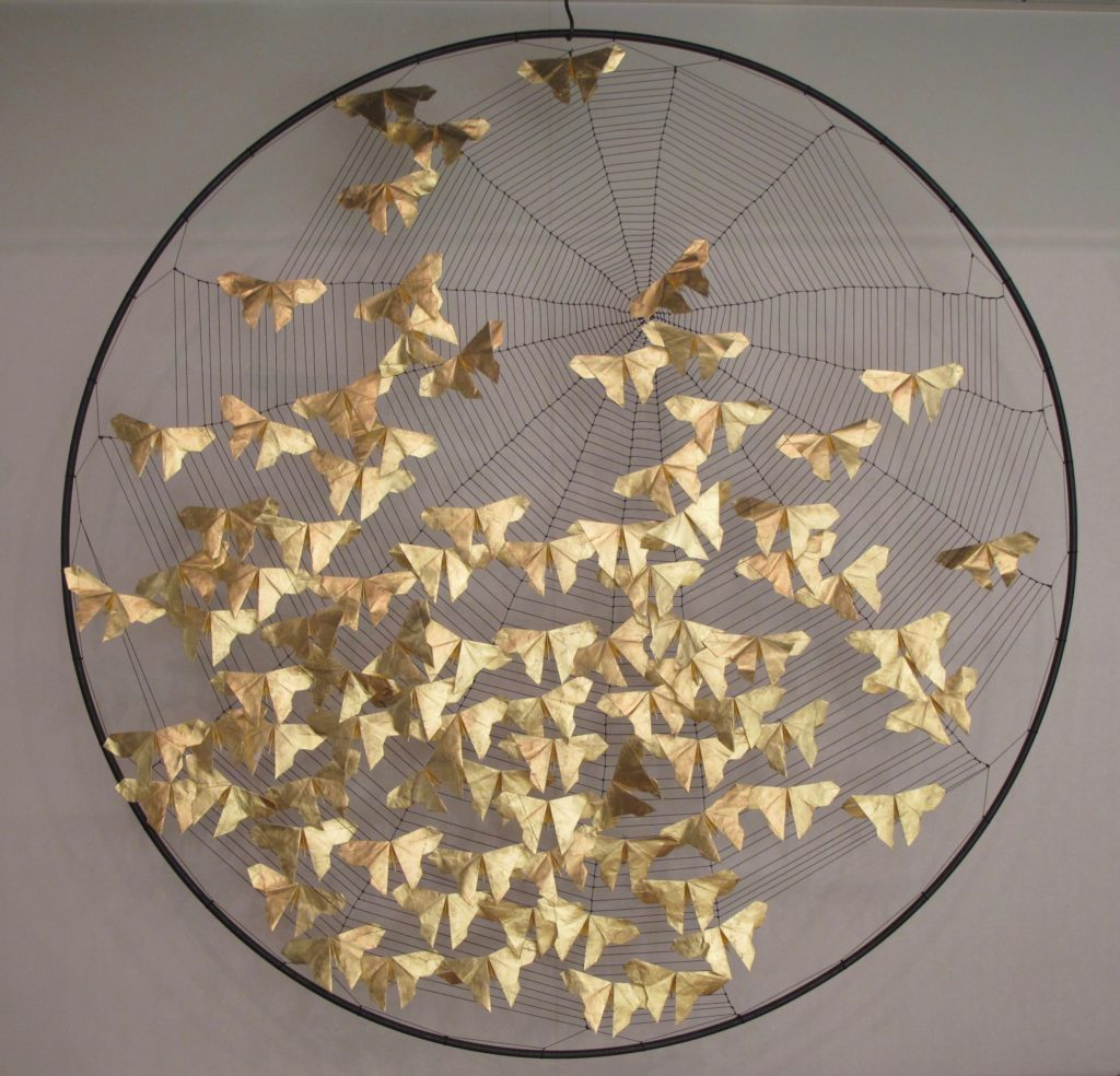 Dreams cannot be caught, Steel, Mulberry Paper, 24kt gold leaf, Nylon, Price on request.