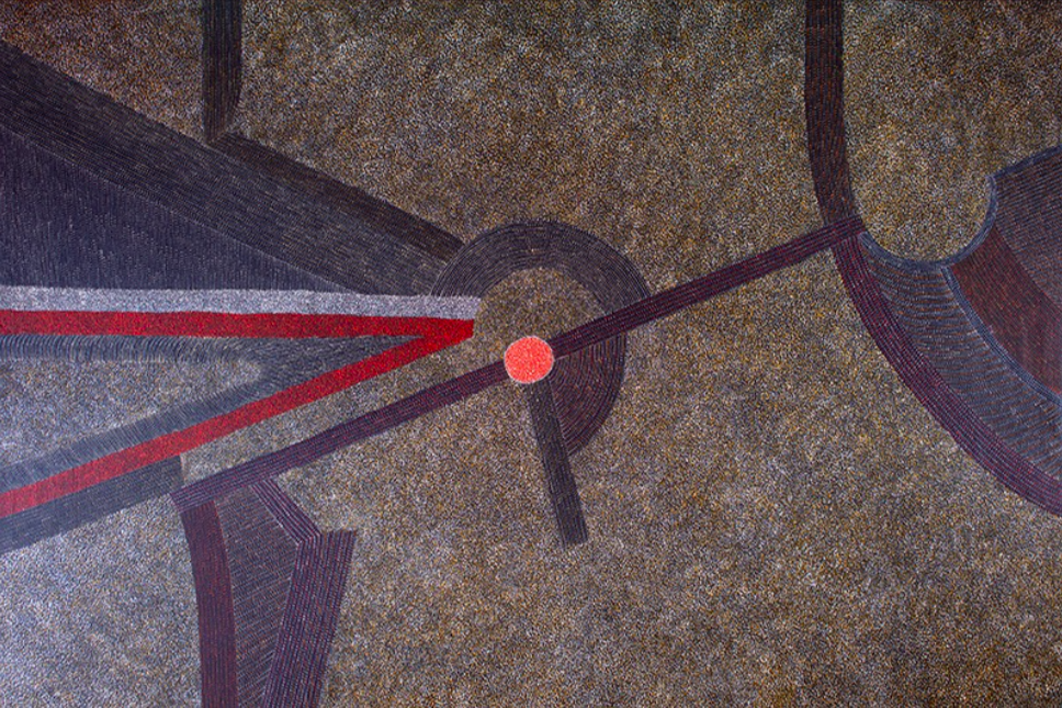 Abie Loy KEMARRE ( 1972 - ), Bush Hen, Acrylic on canvas, 122x182cm, 2018, Price on request.