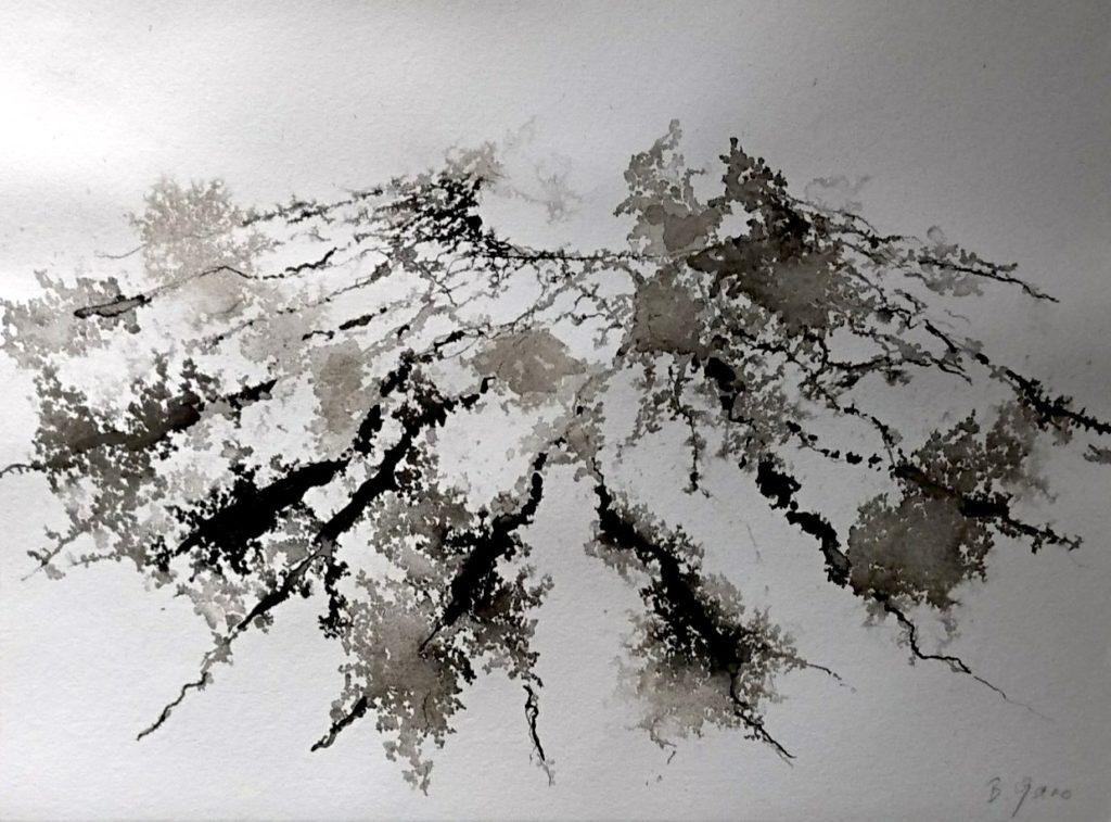 Bernard Garo, Papier vélin BFK rives Moulin du gué 270 gm2, 21x29cm – Encre de Chine, pigments et brou de noix avec pinceau et bambou, 2'000.- CHF